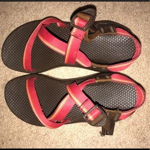 Chacos with single red straps